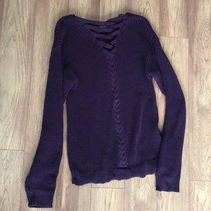 Plum cross back sweater